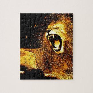 Löwe-Mähnen-Haar-Pelz-Katzen-Raubmanneskopf Puzzle