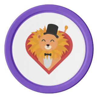 Löwe mit Hut im Herzen Zjrz1 Poker Chips