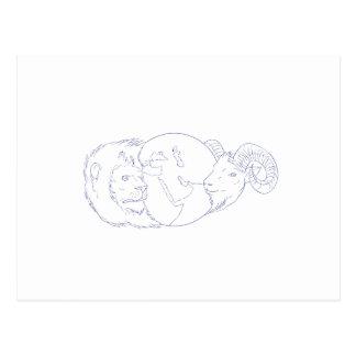 Löwe-RAM-Kugel-Osten-Zeichnen Postkarte