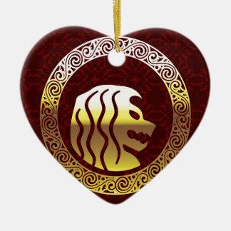 Löwe-rundes Vintages königliches Logo Keramik Herz-Ornament