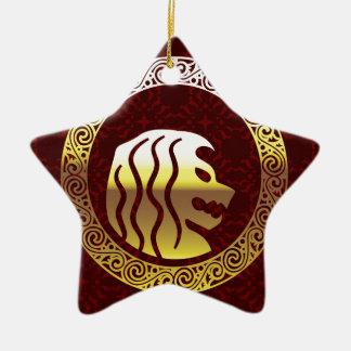Löwe-rundes Vintages königliches Logo Keramik Stern-Ornament