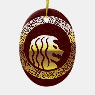 Löwe-rundes Vintages königliches Logo Ovales Keramik Ornament