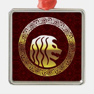 Löwe-rundes Vintages königliches Logo Quadratisches Silberfarbenes Ornament