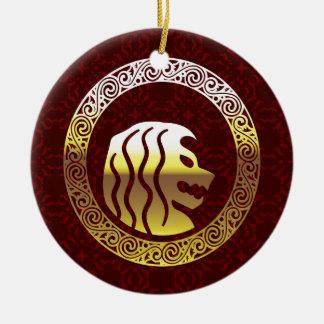 Löwe-rundes Vintages königliches Logo Rundes Keramik Ornament