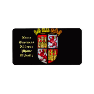 Löwe-Schlosswappen rotes Gelb Adressaufkleber
