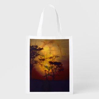 Löwe-Sonnenuntergang Wiederverwendbare Einkaufstasche