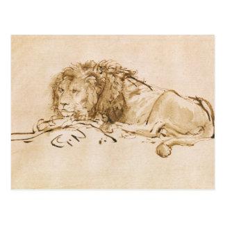 Löwe-Stillstehen (Feder auf Papier) Postkarte