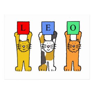 Löwe-Tierkreisgeburtstagskatzen Postkarte