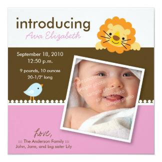 Löwe-u. Piepmatz-Designer-Geburts-Mitteilung Quadratische 13,3 Cm Einladungskarte