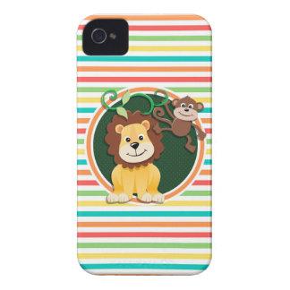 Löwe und Affe Helle Regenbogen-Streifen iPhone 4 Hüllen