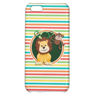Löwe und Affe Helle Regenbogen-Streifen iPhone 5C Cover