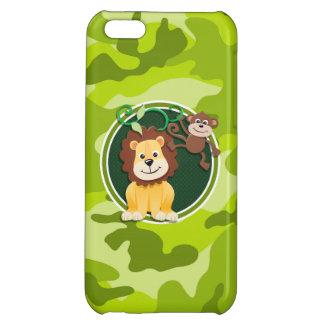 Löwe und Affe hellgrüne Camouflage Tarnung iPhone 5C Hülle