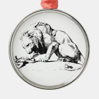 Löwe und die Schlange Rundes Silberfarbenes Ornament