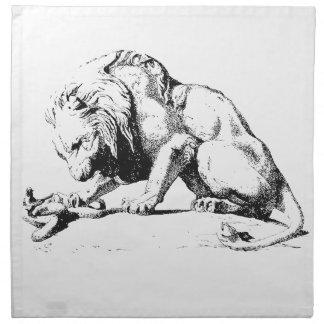 Löwe und die Schlange Stoffserviette