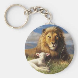 Löwe-und Lamm-grundlegender Knopf Keychain Schlüsselanhänger