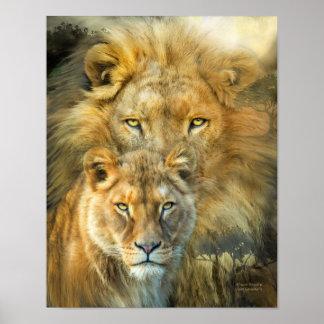 Löwe und Löwin-Afrikanisches Abgabe-Kunst-Plakat/P Poster