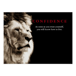 Löwe-Vertrauens-Zitat inspirierend Poster