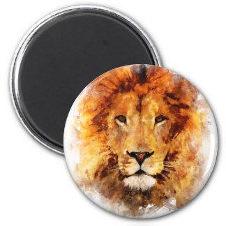 Löwe Wasserfarbe Runder Magnet 5,7 Cm