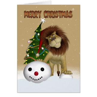 Löwe-Weihnachtskarte - frohe Weihnacht-Löwe Karte