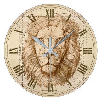 Löwe-Zeichnen Große Wanduhr