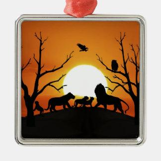 Löwefamilie am Sonnenuntergang Afrika Silbernes Ornament