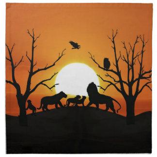 Löwefamilie am Sonnenuntergang Afrika Stoffserviette