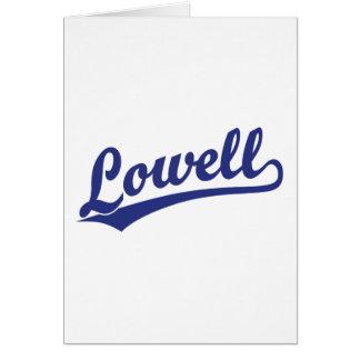 Lowell-Skriptlogo im Blau Karte
