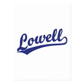 Lowell-Skriptlogo im Blau Postkarte