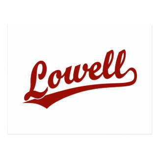 Lowell-Skriptlogo im Rot Postkarte