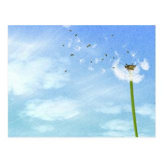 Löwenzahn-blauer Himmel-Natur-Illustration Postkarte