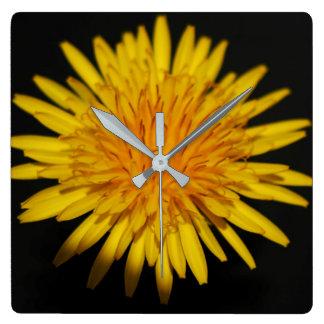Löwenzahn-Blumen-Wand-Uhr Quadratische Wanduhr