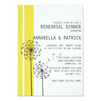 Löwenzahn-gelbe graue Proben-Abendessen-Einladung 12,7 X 17,8 Cm Einladungskarte
