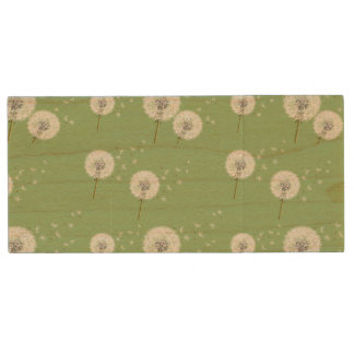 Löwenzahn-Muster auf grünem Hintergrund Holz USB Stick