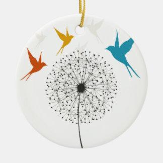 Löwenzahn und Vogel Keramik Ornament