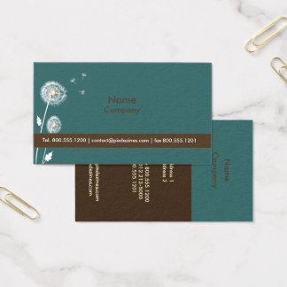 Löwenzahn-Visitenkarten, dunkles aquamarines/Braun Visitenkarten