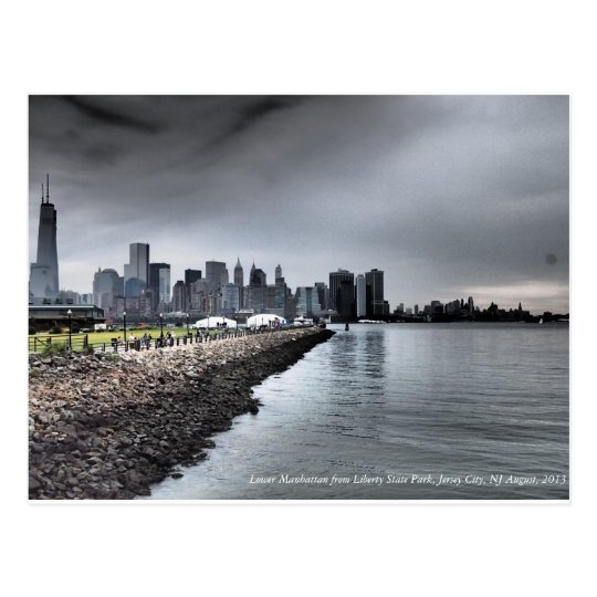 lower manhattan skyline farbe postkarte zazzle. Black Bedroom Furniture Sets. Home Design Ideas