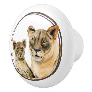 Löwin der Mutterschafts-| und CUB-Aquarell-Malerei Keramikknauf