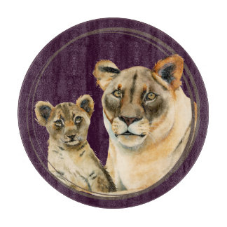 Löwin der Mutterschafts-| und CUB-Aquarell-Malerei Schneidebrett