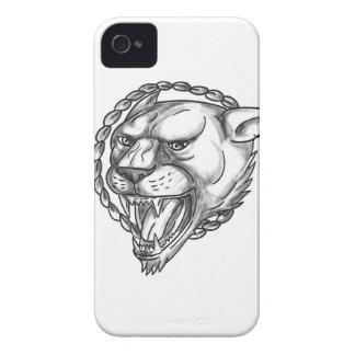 Löwin-Knurrenseil-Kreis-Tätowierung Case-Mate iPhone 4 Hülle