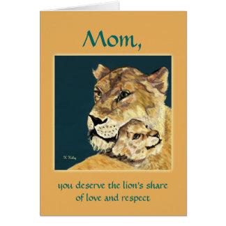 Löwin- und -cUB-Karte der Mutter Tages Karte