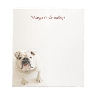 Loyale weiße Bulldoggen-Sachen, zum des Notizblock
