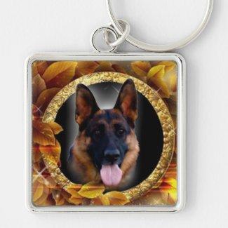 Loyaler Schäferhund Silberfarbener Quadratischer Schlüsselanhänger