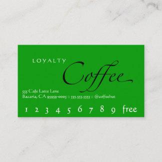 Loyalitäts-Kaffee-Lochkarten-Grün Treuekarte