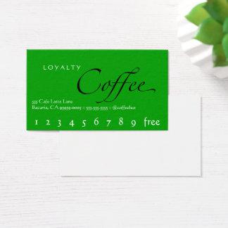 Loyalitäts-Kaffee-Lochkarten-Grün Visitenkarte