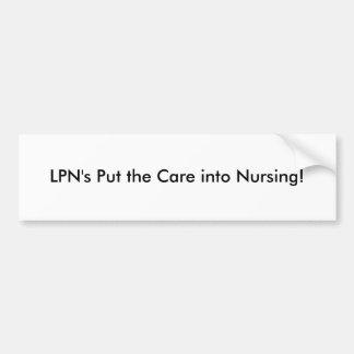 LPN gesetzt der Sorgfalt in Krankenpflege Autoaufkleber