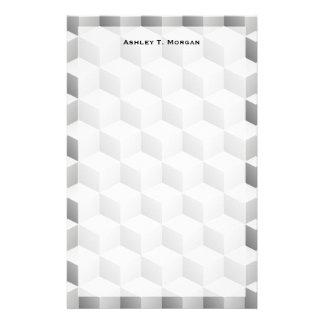 Lt graues Weiß schattierte Würfel des Blick-3D Briefpapier