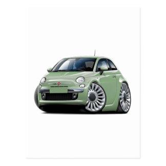 Lt Green Car Fiat-500 Postkarte