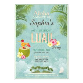 Luau hawaiische Geburtstags-Einladung - tropisches Karte