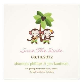 Luau Monkeys Save the Date Mitteilung Einladungen