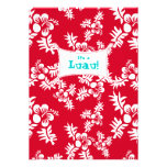 Luau Party Einladungs-Hibiskus-Blumen-rotes Weiß Einladung